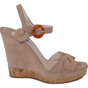PRADA Mohave Suede Wedge Sandals Cork Trim 39